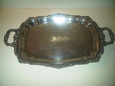 VINTAGE POOLE SILVER PLATE SERVING TRAY w/ HANDLES & FEET PLATTER