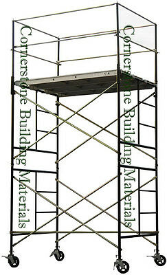 Heavy Duty Scaffold Rolling Tower 5' X 7' X 11' Standng Deck High With Railing
