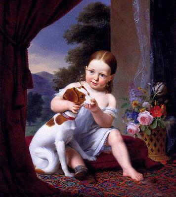 Oil painting The Two Friends Les Deux Amis little girl with dog free shipping