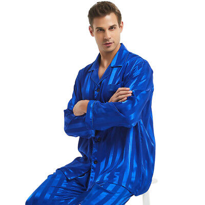 Mens Silk Satin Long Pajamas Set pajamas for men Silk sleepwear__For Great Gift