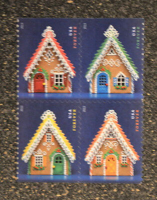 2013USA #4817-4820 Forever Gingerbread Houses Christmas - Booklet Block  4 Mint
