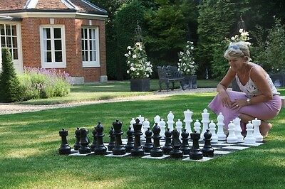Individual Garden Chess Pieces Including Giant Plastic Queens Kings and Others