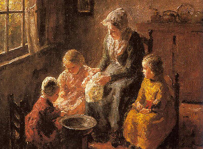 Art Oil painting family Mother and Children in an Interior free shipping cost
