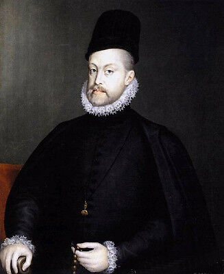 Excellent Oil painting male portrait Philip II Holding a Rosary & cap canvas