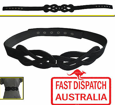 1 Cinch Waist Studded Designer Belt women interlock Vintage Boho Hippie Black