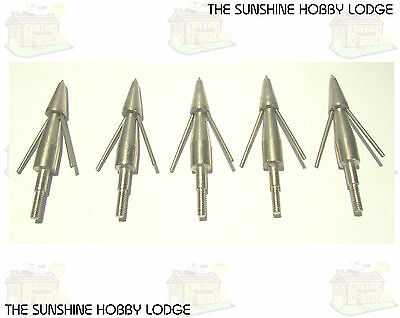 Pack Of 5 Broadheads Crossbow Bolt Archery Arrow Heads For Fishing Barbed NEW UK