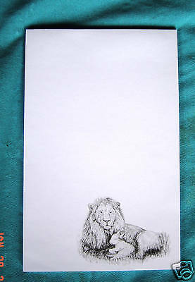 Lion and Lamb 3 Notepads 50 Sheets 8.5x5.5 New B&W Drawing