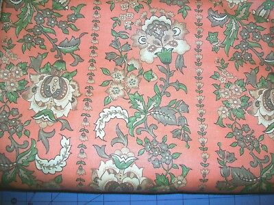 Rows Of Flowers And Leaves On Salmon Pink Cotton Fabric