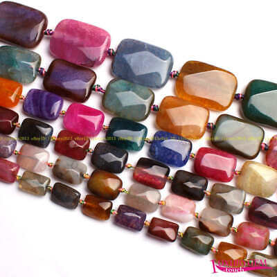 12x16,15x20mm Natural Faceted Cracked Agate Rectangle Shape Beads Strand 15""