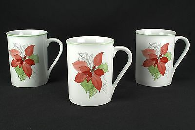 Block Poinsettia 3 Mugs Handle A Portugal Watercolors MINT