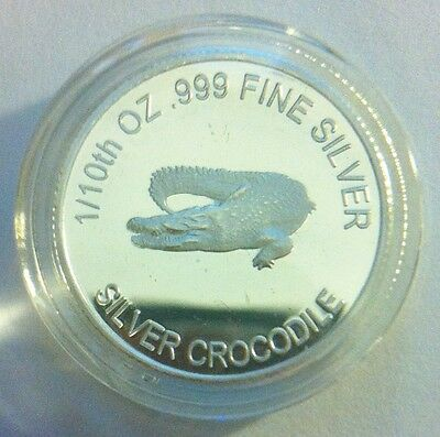 "1/10th Oz 99.9% Pure Silver Bullion Coin, ""Crocodile"" (Aust Series) 14 to Coll"