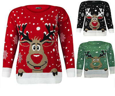 New Womens Ladies Knitted Rudolph Reindeer Jumper Xmas Christmas Novelty Sweater