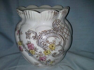 Antique biscuit or cookie jar no lid B and M help floral embossed scalloped