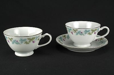Fine China of Japan Vintage 2 Cups & 1 Saucer 6701 Leaves Grapes FLAWS