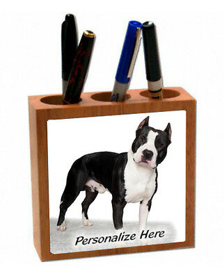 Staffordshire Bull Terrier   blk & white (7075) Personalized  Pencil  Holder