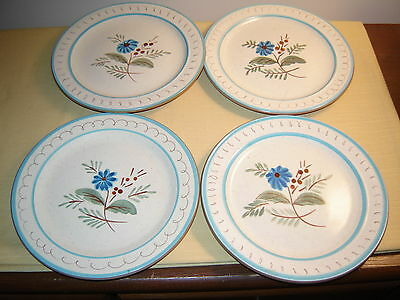 4 Stangl Pottery Blue Daisy Lunch Plates (8 Inches Wide) Lot
