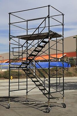 "SCAFFOLD STAIRWAY CASE ROLLING TOWER 5' X 7' X 11'7"" to 12' 7"" DECK HIGH CBM1290"