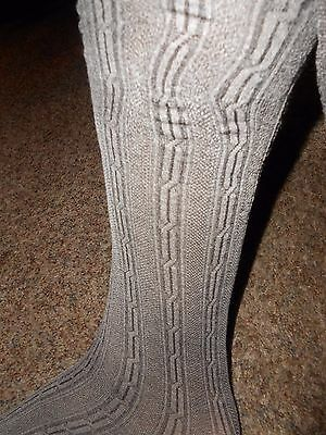 3 Givenchy Sz B Pantyhose Sweater Stocking Tights Coffee Tweed Knit