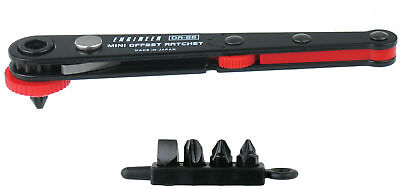 SCREWDRIVER super low profile ratchet 90 degrees angled stubby Engineer DR-55