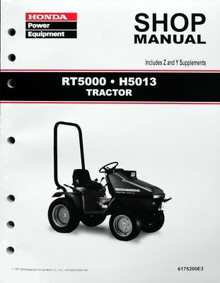 Honda H5013 RT5000 Lawn Tractor Mower Service Repair Shop Manual