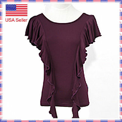 SCT1065PU (S-XXL) New Women Ballroom Latin Rhythm Salsa Swing Dance Blouse Top