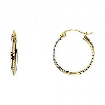 14KT Solid Two Tone Italian Gold Elegant Double Round Hoop Hinged Earrings