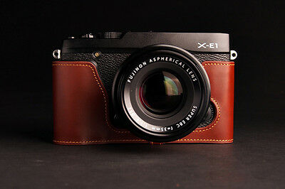 Genuine Real Leather Half Camera Case Bag Cover for FUJIFILM XE1 XE2 XE2S