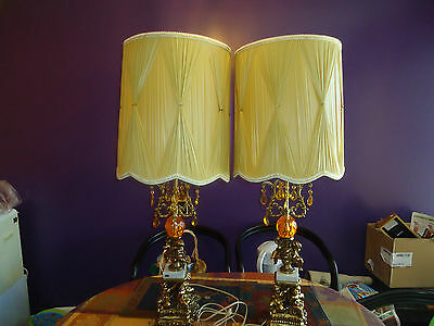 2Vintage Antique Bronze Finish Brass MarbleBase Made In Italy Prism Table Lamps