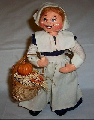 "Thanksgiving Pilgrim Lady Doll by Annalee Holding Basket 11"" Tall - Woman Autumn"