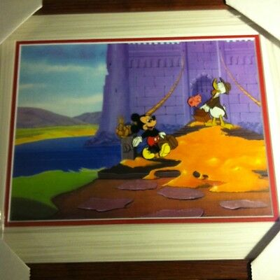 """""""Mickey Mouse & Donald Duck """"original Hand Painted Vintage Art cel Framed"""