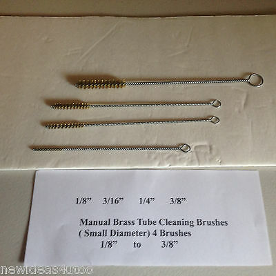 "Small Diameter Tube Cleaning Brushes w/Brass  Bristles  4 pack) 1/8""-3/8"""