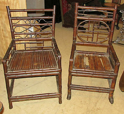 Pair Antique Chinese Bamboo Arm Chairs China Trade