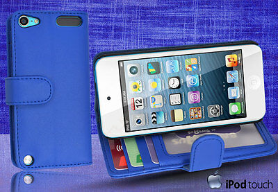 Blue Side Wallet Leather Case Cover for iPod Touch 5th Generation iTouch 5 +SP