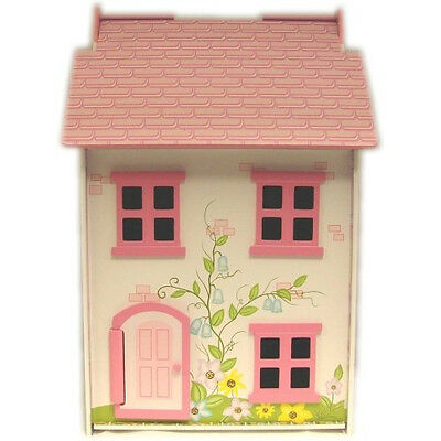 NEW Painted Wooden Doll House with Four Dolls and Furniture