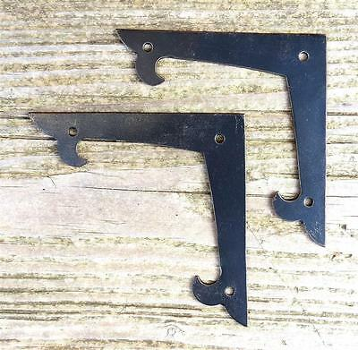 "2 Decor 4"" Flat Corner Plates Wrought Iron Door Frame Antique Furniture Bracket"