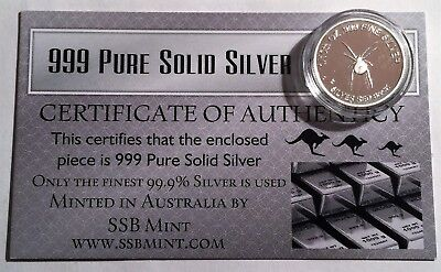 "1/10th Oz 99.9% Pure Silver Bullion Coin, ""R/B Spider"" (Aust Series) 14 to Coll"