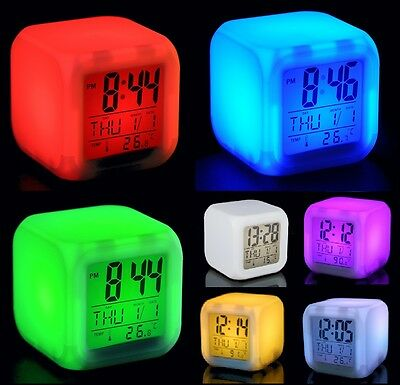 Digital Alarm Thermometer Night Glowing Cube 7 Colors Clock LED Change LCD