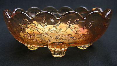 1910 Westmoreland Carnival Glass Louisa Marigold Oval Footed Candy Dish