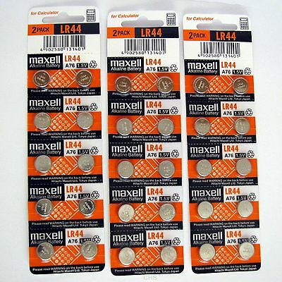 30 NEW LR44 MAXELL A76 L1154 AG13 357 SR44 303 BATTERY Expiration Date 12/2020