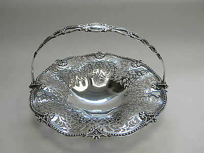 ANTIQUE VICTORIAN SOLID SILVER FRUIT BASKET LONDON 1900