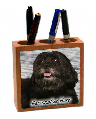 Havanese     black  color    ( 34 )   Personalized  Pencil and Pen Holder