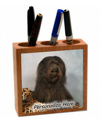 Havanese  brown color    ( 18 )   Personalized  Pencil and Pen Holder