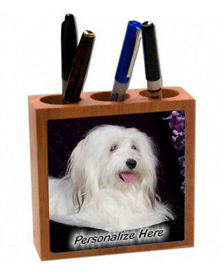 Havanese   white color    ( 42 )   Personalized  Pencil and Pen Holder