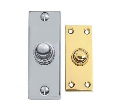 PERRY Polished Solid Brass Victorian Oblong Bell Push Door Bell Buttons D11