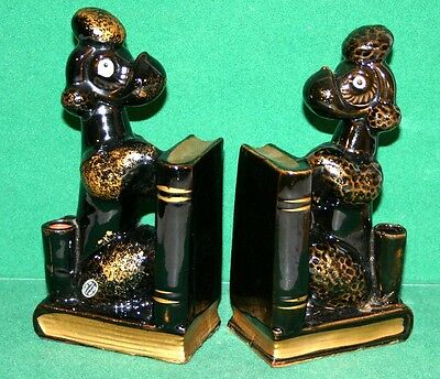 Vintage Pair of French Poodle Porcelain Bookends with Pencil Holders - Japan