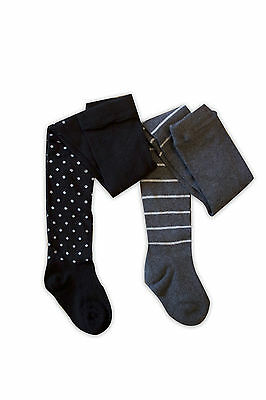 PRETTY-WARM-TIGHTS-BLACK+SNOW FLAKES+GREY SILVER STRIPE-2 x pairs-(PACK OF TWO)!