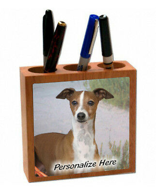 Italian Greyhound  tan & white color ( 9 )  Personalized  Pencil and Pen Holder