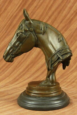 Stunning Large Bronze Sculpture - Horse Head Bust - Solid Marble Base Figurine