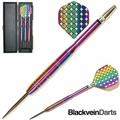 22g RAINBOW QUAZERS 90% TUNGSTEN DARTS SET. Exactly as Pictured.