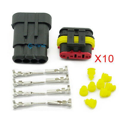 10 Kit Set 4 Pin Way Car Waterproof Electrical Wire Connector Plug Terminals HID
